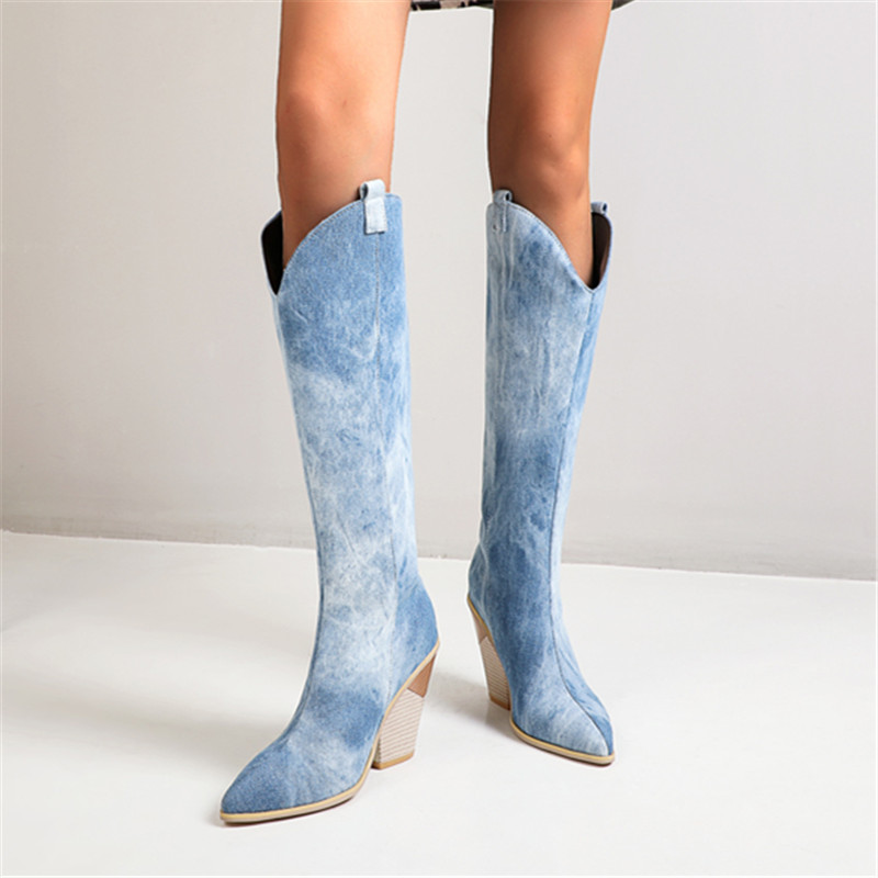 blue white Faux Leather Women Knee High Boots Pointed Toe Boots Women Long Chunky Block High Heel Boots Western Cowboy Boots