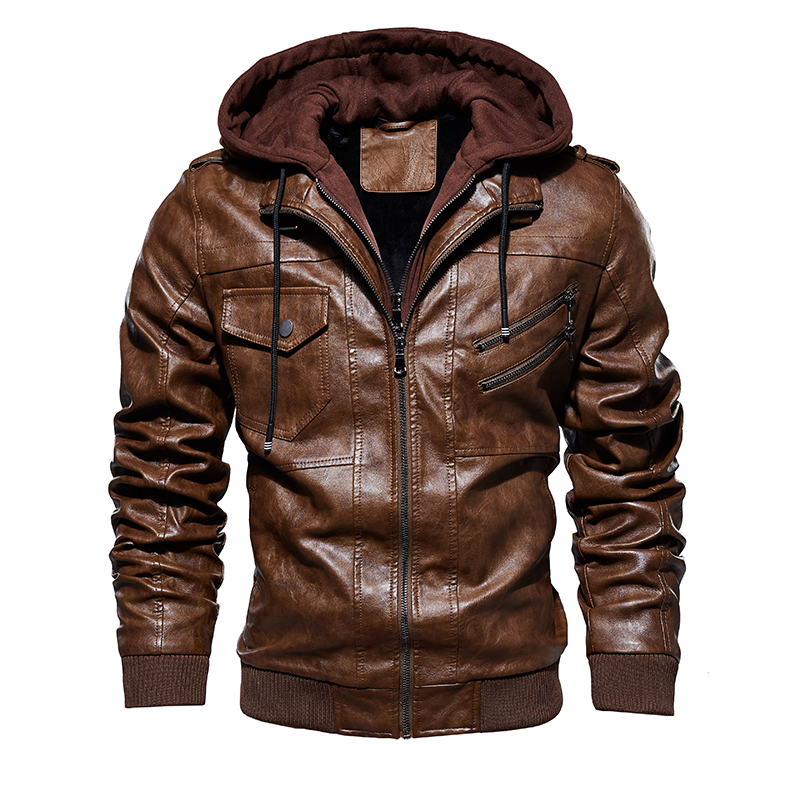 Men's Winter Fleece Motorcycle Leather Jackets Autumn Male Fashion Casual Hooded Jacket Warm Leather Jackets Coats