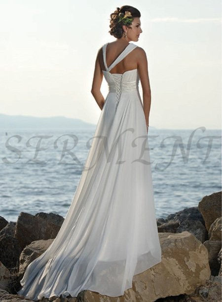 Simple Beach Wedding Dress Oen Shoulder Empire A-line Back Lace Up Lacework Design White Style Embroidery Flower Neck Line
