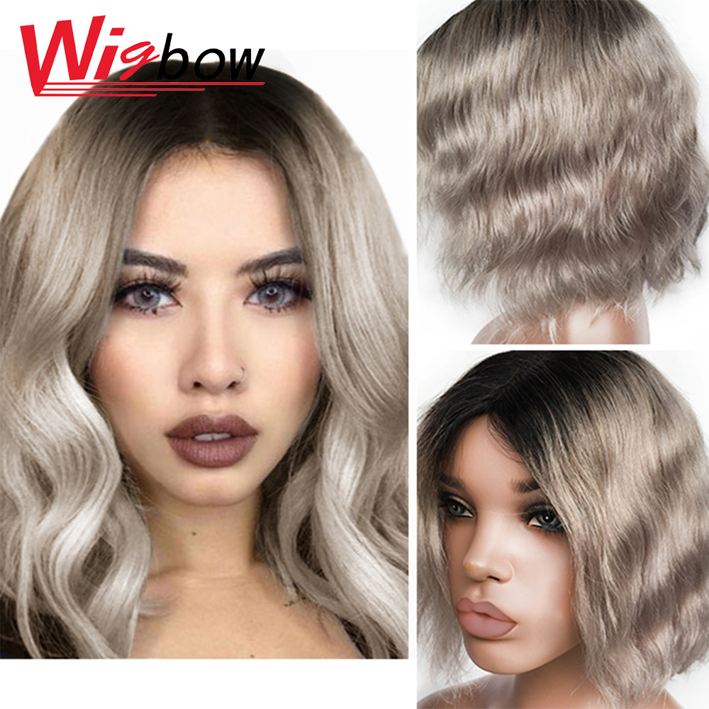 Natural Wavy Human Hair Wigs Ombre Grey Short Bob Wig For Women 10Inch Brazilian Human Hair Lace Wig With Bangs Natural Hair Wig