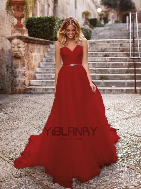 Luxury Wedding Dress Tulle And Beading With A-line V-neck Sleeveless Spahrtti Strap Bride Dresses Backless Button Plus size 4