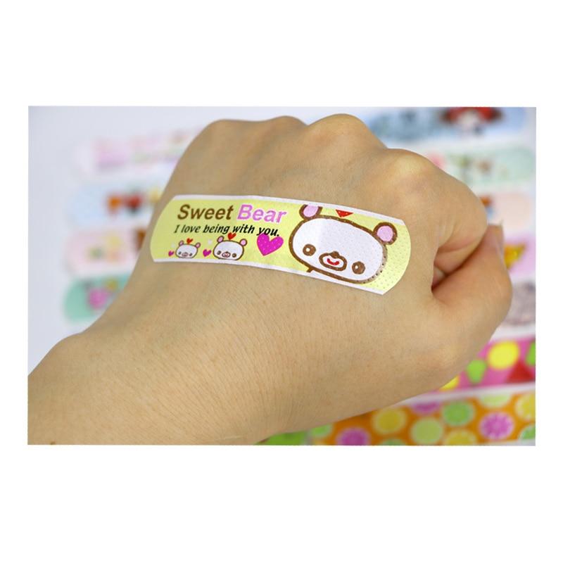 120PCs Wasserdicht Atmungsaktiv Nette Cartoon Pflaster Hämostase Klebstoff Bandagen Erste Hilfe Notfall Kit Für Kinder Kinder Baby