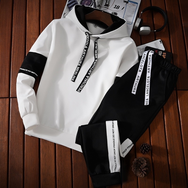 Autumn MEN'S Hoodie Thin Long-sleeve Suit Teenager Students Sports Clothing Men's Korean-style Trend 2 Pieces A Set