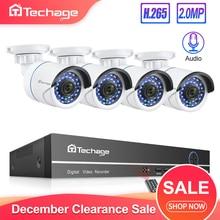 Techage H.265 8CH 1080P POE NVR комплект системы видеонаблюдения 2MP аудио ip-камера ИК Открытый P2P Onvif комплект видеонаблюдения 1 ТБ HDD