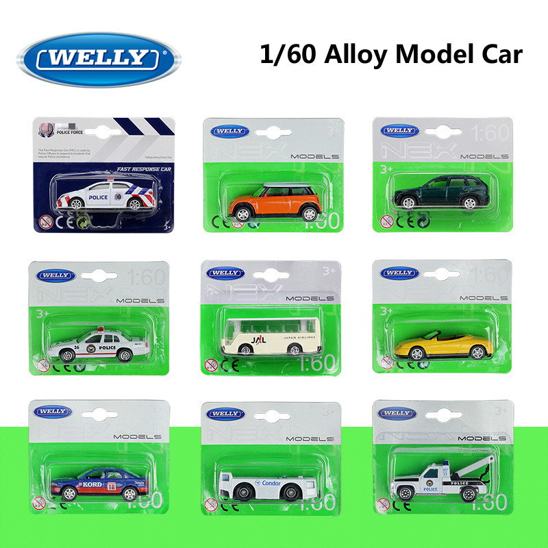 WELLY Diecast 1:60 Mini Model Car Toyota Corolla/Airport Special Vehicle Bus Tractor Trailer Alloy Metal Toy Car For Kid Gifts
