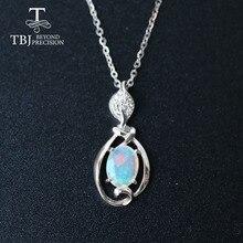 Opal küçük kolye doğal etiyopya taş 925 ayar gümüş basit tasarım güzel takı güzel noel hediyesi için kız, anne