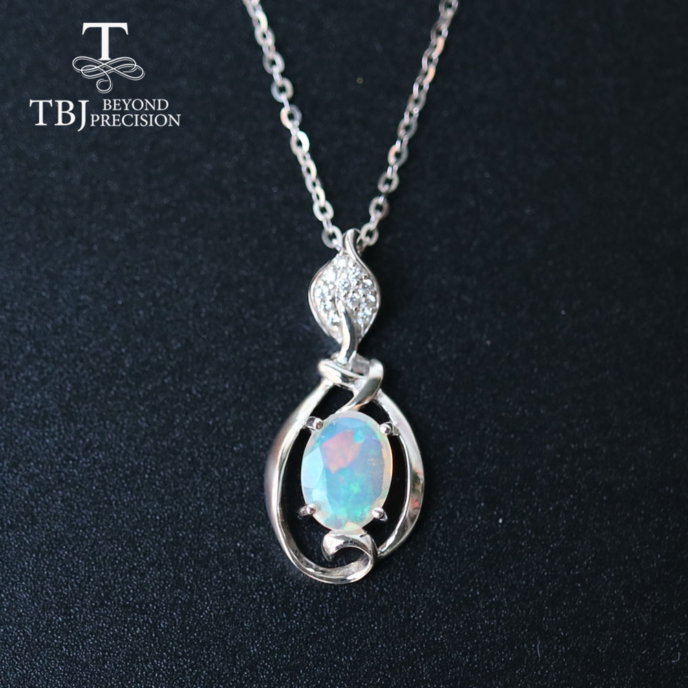 Opal Small Pendant Natural Ethiopia Gemstone In 925 Sterling Silver Simple Design Fine Jewelry Nice Christmas Gift For Girl,mom