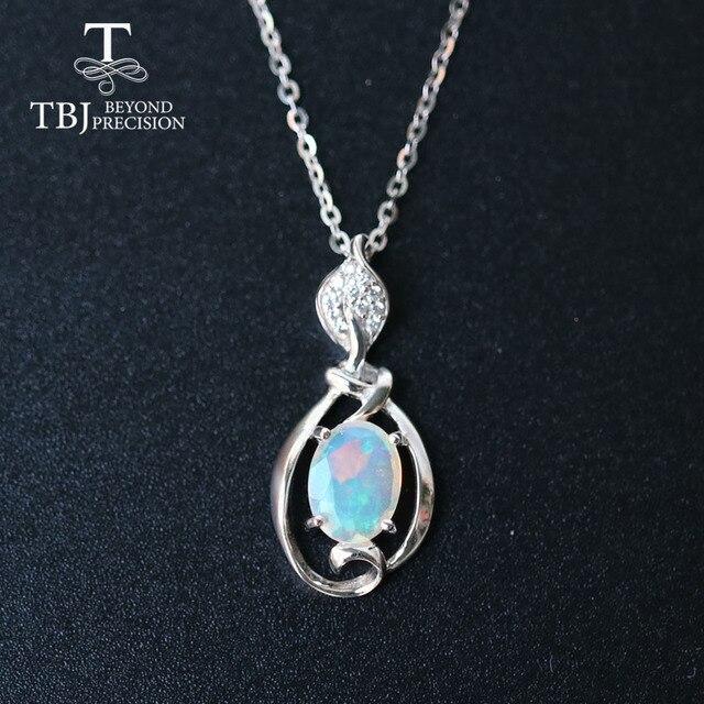 Petit pendentif en pierre précieuse dethiopie naturelle en argent sterling 925, design simple, bijou fin, joli cadeau de noël, pour fille et maman