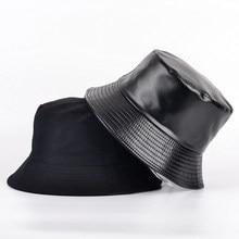 2021Summer Faux Leather Bucket Hat Women Reversible Pu And Cotton Solid Sun Hat Girl Fashion Bob Panama Fisherman Hats Wholesale
