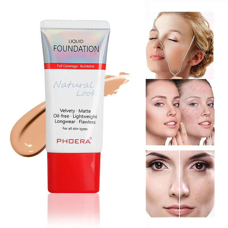 PHOERA 30ml Perfect Beauty Foundation Soft Matte Base Long Wear Oil Control Concealer Liquid Base Cream For Woman Makeup TSLM1
