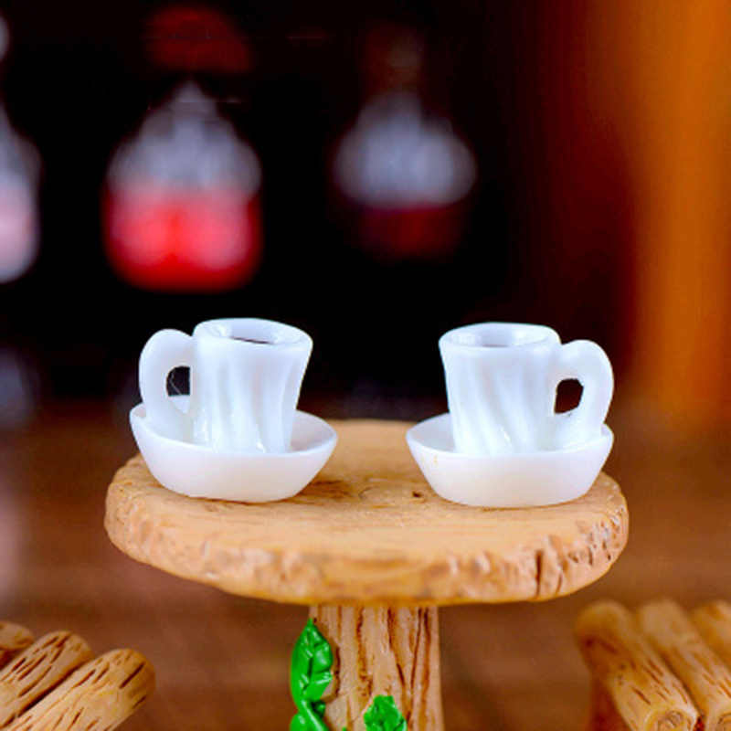 Mini Coffee Tea Cup Teacup Afternoon Tea Glass Model Small Statue Car Figurine Crafts Garden Figure Ornament DIY Miniatures