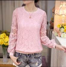 2019 spring Blusa Beaded lace tops Crochet Lace Blouse Patchwork Hollow out Long sleeve Chiffon Women shirt clothing RQ422(China)