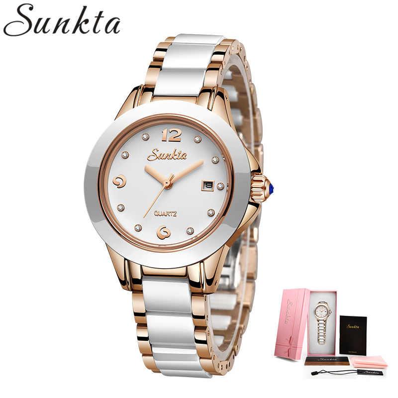 SUNKTA 2019 nowe różane złote zegarki damskie zegarki kwarcowe top damski luksusowy zegarek damski dziewczyna zegar Relogio Feminino + Box
