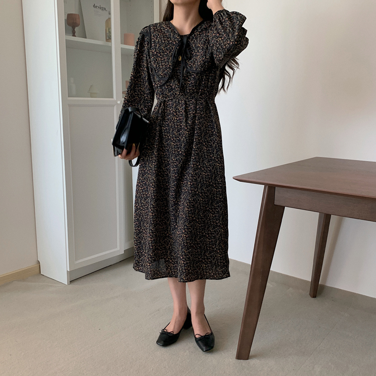 H58d17e4a47c743c4a93c67e1632a26b7W - Autumn O-Neck Long Sleeves Chiffon Floral Print Midi Dress