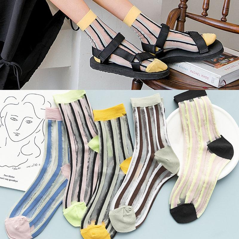 Ins Transparent Striped Women Socks Fishnet Glass Silk New Trend Korean Cotton Ladies Sheer Hosiery Ultra-thin High Ankle Socks