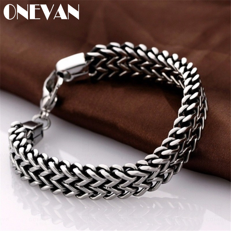 Fashion Titanium Stainless Steel Bracelet Heavy Punk Rock Style Bangle for Men/Women Couple Party Jewelry Gifts (Size:5mm/10mm)