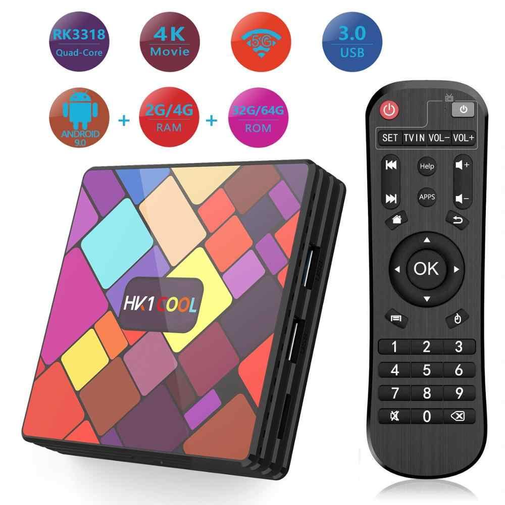 Android 9.0 สมาร์ททีวีกล่อง HK1 Cool 4K Quad Core 4G/64G 2.4G/5GHz Dual WIFI Bluetooth IPTV Neflix YouTube Media Player ตั้งกล่องด้านบน