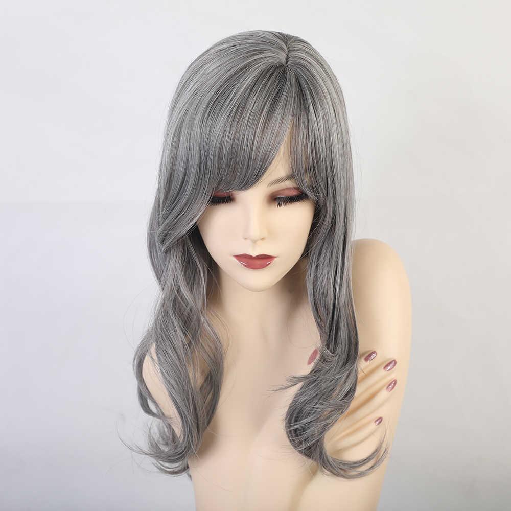 Sentetik doğal saç peruk kadınlar için Cosplay peruk patlama ile kısa dalgalı peruk Ombre kül gri mavi peruk ısıya dayanıklı iplik
