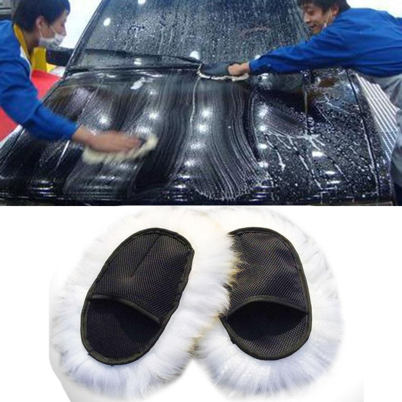 Super Long Hair Gloves Luxury Lamb Wool Glove Breathability Mesh Paws Sheepskin Car Washing Cleaning Polishing