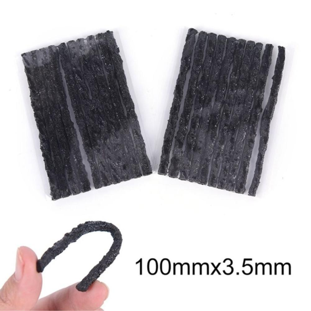 Black 10Pcs/Set Tubeless Seal Rubber Strip Plug Bike Tools Recovery For Tire Repair Puncture GTV4628 Tyre Car O7Y4