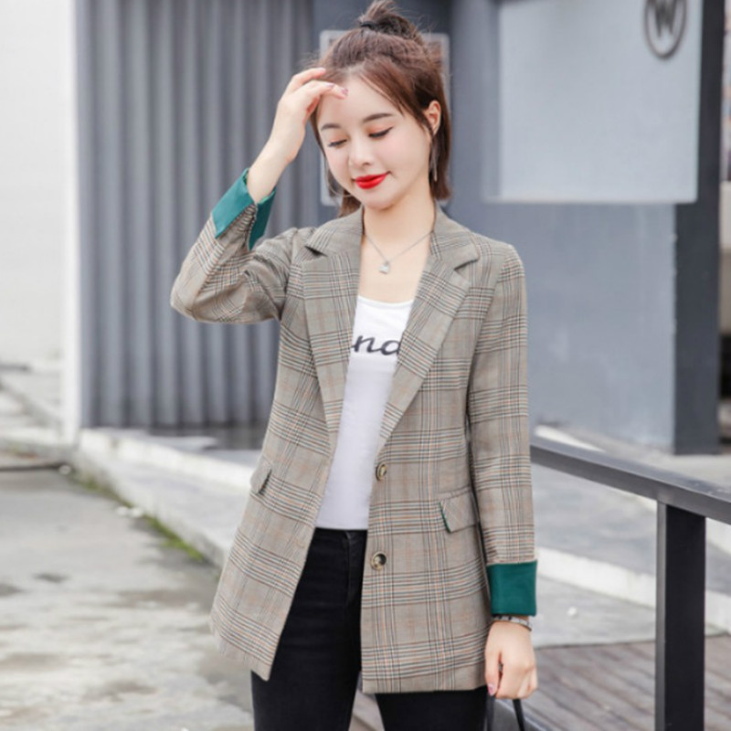 Women's Blazer High Quality Plaid Long Sleeve Suit Jacket Female Casual Single-breasted Office Suit 2019 Autumn New Large Size