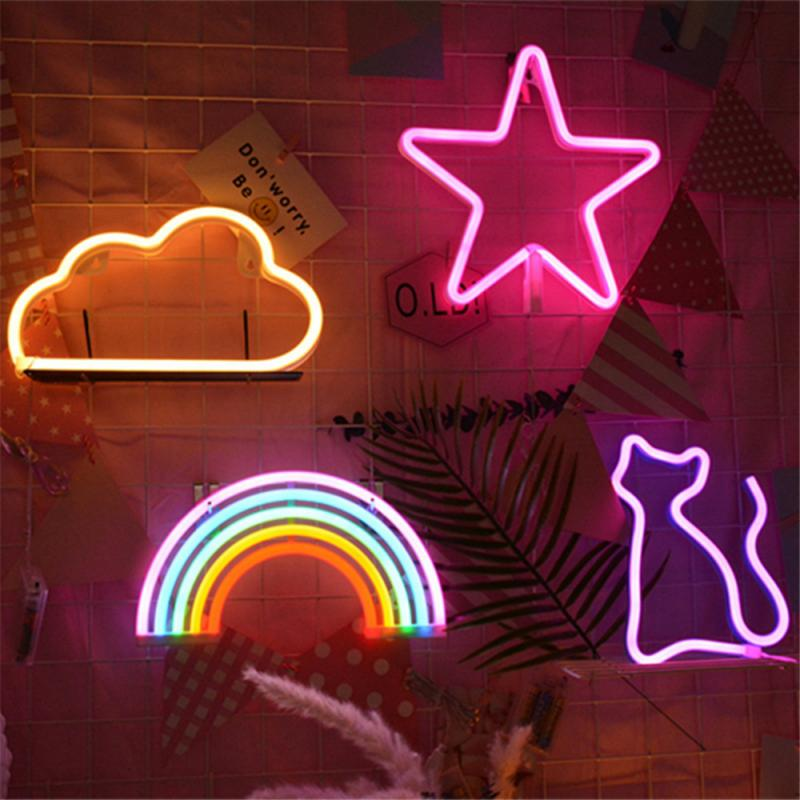 Best Price 1f2d Hot Sale Night Light Rainbow Wall Lamps Battery Powered For Kids Rooms Decor Plastic Table Party Decorative Led Night Light Lamp Cicig Co