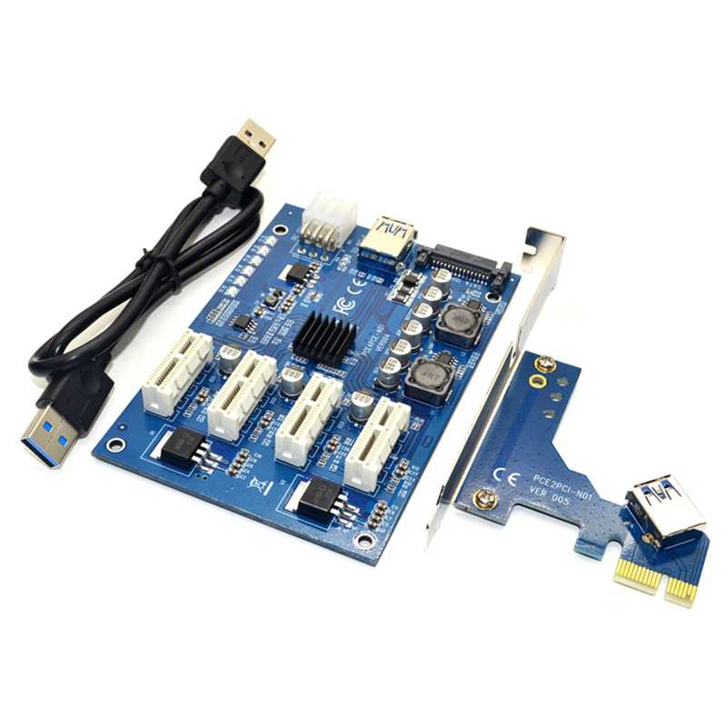 PCI-E X1 To 4PCI-E X16 genişleme kiti 1 ila 4 Port PCI Express anahtarı çoğaltıcı HUB 6Pin Sata USB yükseltici kart BTC madenci madencilik