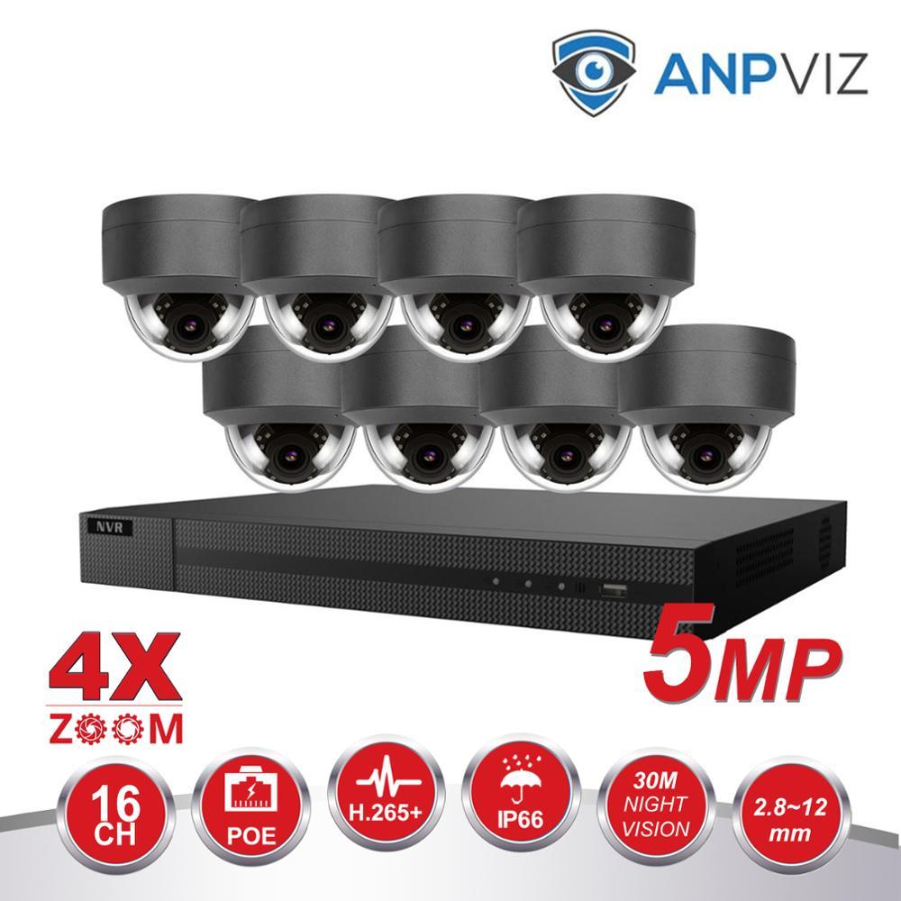 16ch cúpula cámara IP sistema Kit 4K POE NVR/8/10/12/16 piezas 5MP 4X Zoom de seguridad, cámaras IP, Vari-en 2,8-12-12mm alarma Video P2P