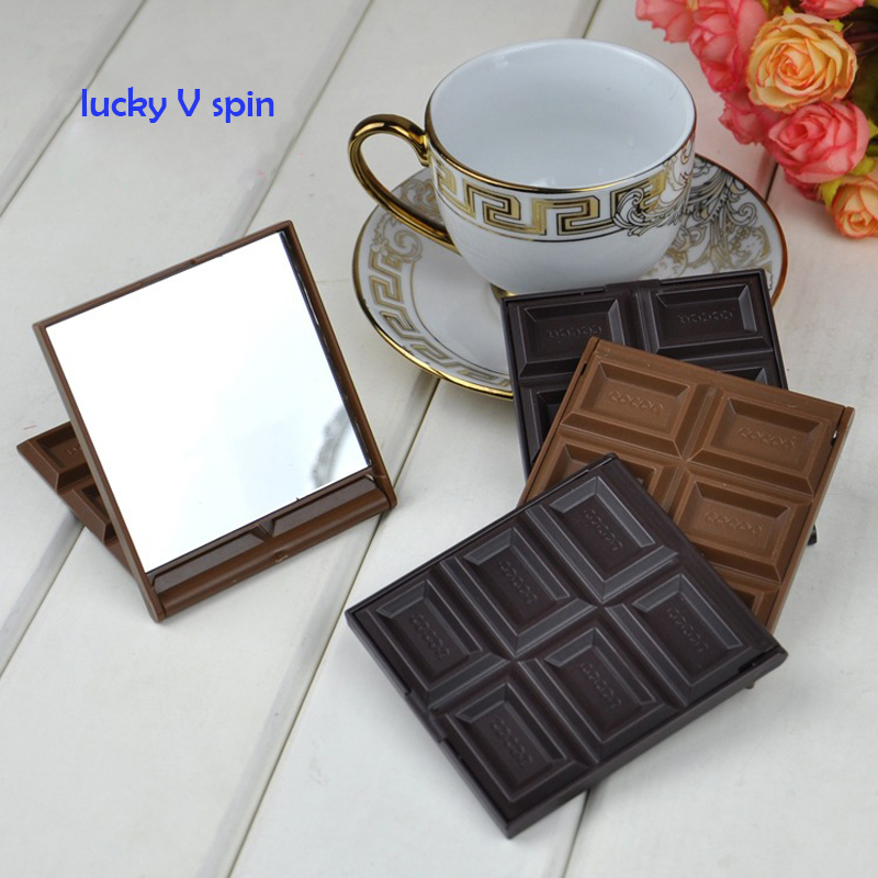 New Foldable Cute Mini Makeup Mirror Chocolate Cookie Shaped Square Pocket Mirror Glass+Plastic Women Girl Lovely
