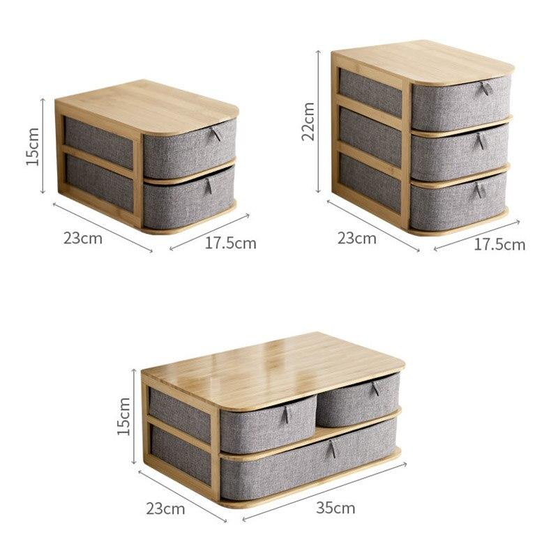 Boîte de rangement en bois de bambou nouvellement multi-couches avec tiroirs en tissu Oxford pour bureau MK - 5