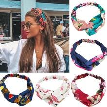 Модные женские летние ленты для волос в стиле бохо с принтом повязки на голову винтажные крестовые повязки на голову банданы повязки на голову аксессуары для волос