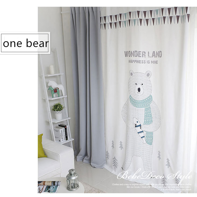 1Pc Home Curtain Cute Cartoon Bear Printed Polyester Curtains for flat window/ Children Room  / Living