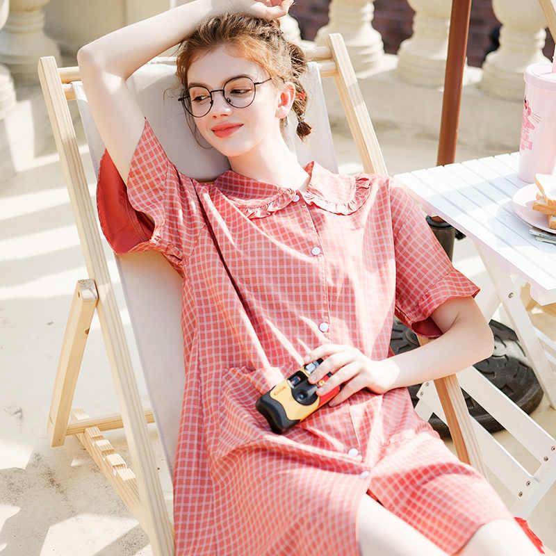Fenteng Zomer Vrouwen Pyjama Plaid Losse Casual Night Toga Nachtkleding Dames Thuis Pak Nachtkleding J98122979