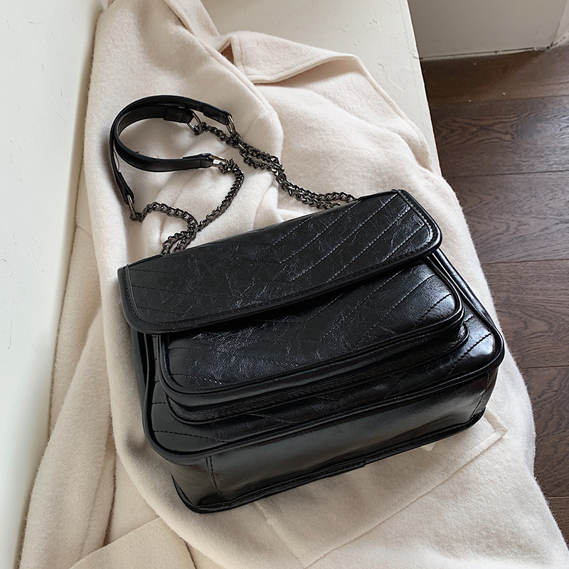 Solid Color Vintage Leather Crossbody Bags For Women 2020 Winter Shoulder Messenger Bag Female Travel Chain Handbags Lady