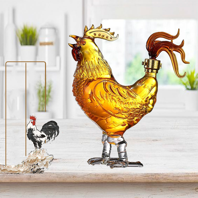 750ml luxury fashion home party animal chicken shaped whiskey decanter for Liquor Scotch Bourbon DDC-204