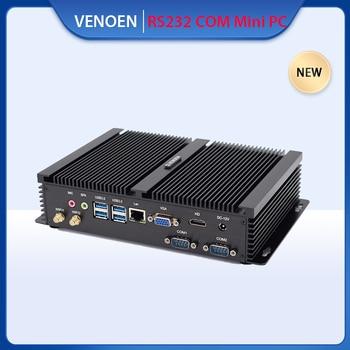 ITX 견고한 산업용 미니 PC 인텔 코어 i5 7200U i3 7167U 셀러론 1007U 2 RS232 COM VGA 듀얼 디스플레이 리눅스 공장 컴퓨터