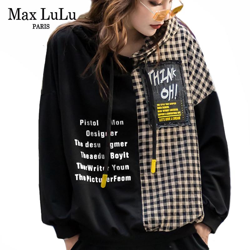 Max LuLu 2019 Autumn European Fashion Style Ladies Punk Clothes Women Plaid Hooded Hoodies Vintage Patchwork Printed Sweatshirts