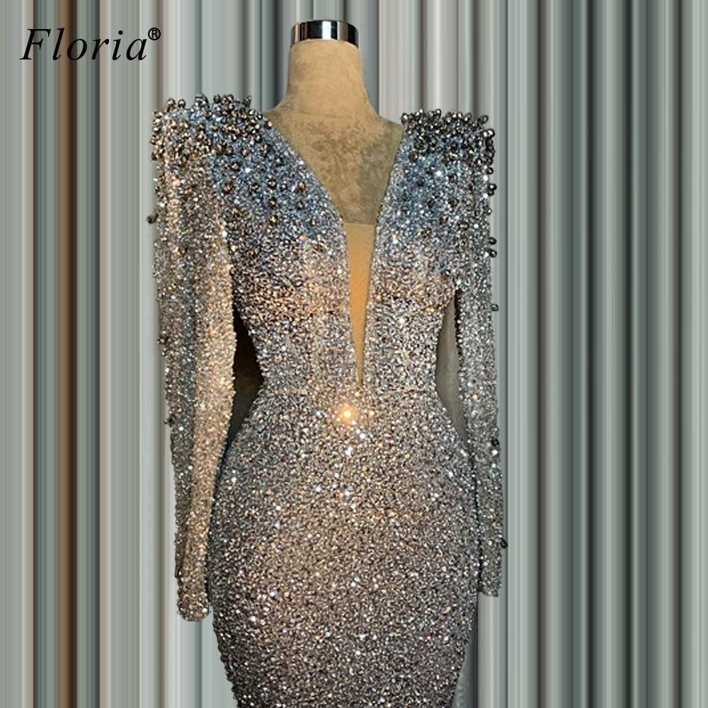 2020 Silver Glitter Formal Evening Dresses Long Mermaid Dubai Muslim Sequins Robe De Soiree Pearls Women Cocktail Gowns Party