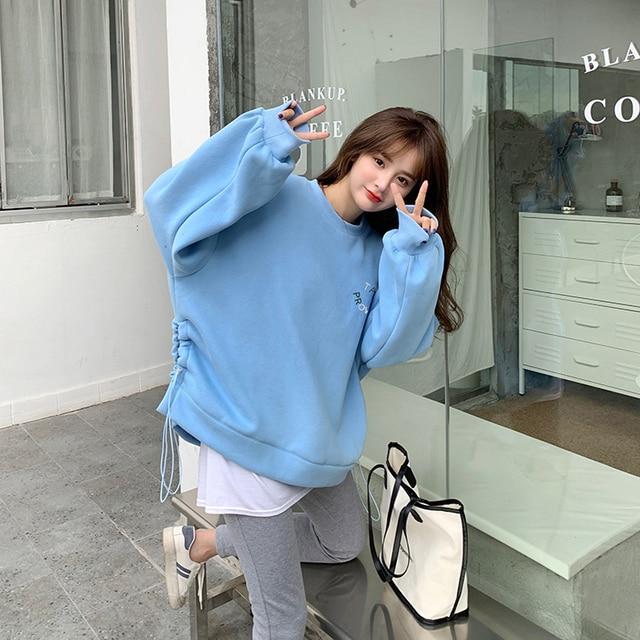 Oversized Hoodies  Harajuku Streetwear Chic Letter Print Hoodies Women Winter  Long Sleeve Hoodies kawaii Sweatshirt 2