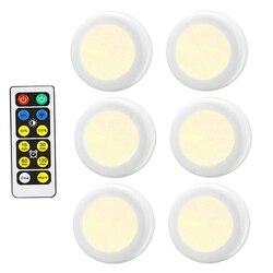Ciepły biały + biały dwukolorowy ściemnialny czujnik prasy Led pod szafkami światła bezprzewodowe Led krążki świetlne Led szafa oświetlenie kuchenne w Lampy ścienne od Lampy i oświetlenie na