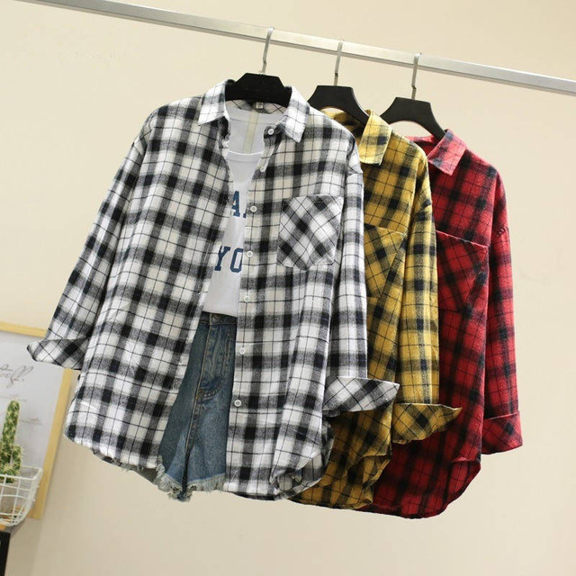 Women Spring Summer Style Blouses Shirts Lady Casual Long Sleeve Turn-down Collar Plaid Printed Blusas Tops ZZ0750 1