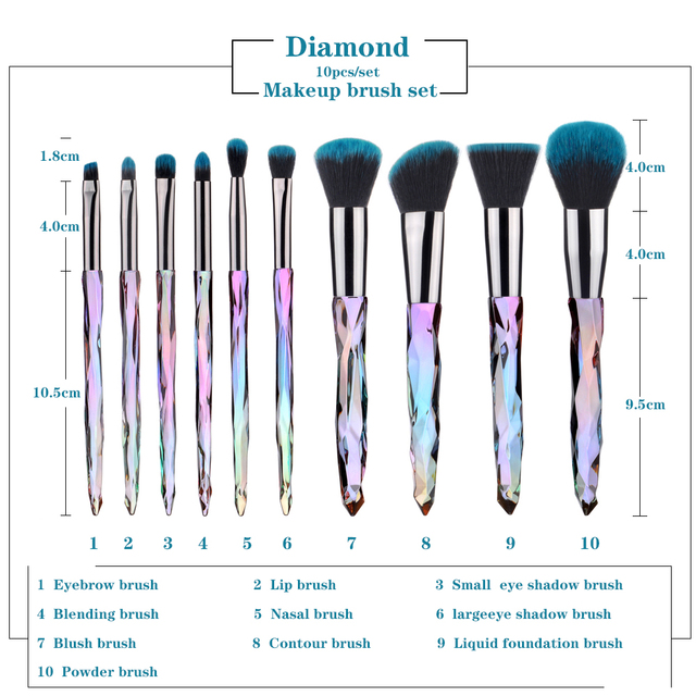 FLD 10Pcs Diamond makeup brushes Set Cosmetic Blush brush Powder Foundation Brush Eye Shadow Lip Eyebrow  Makeup Kit Brushes 3