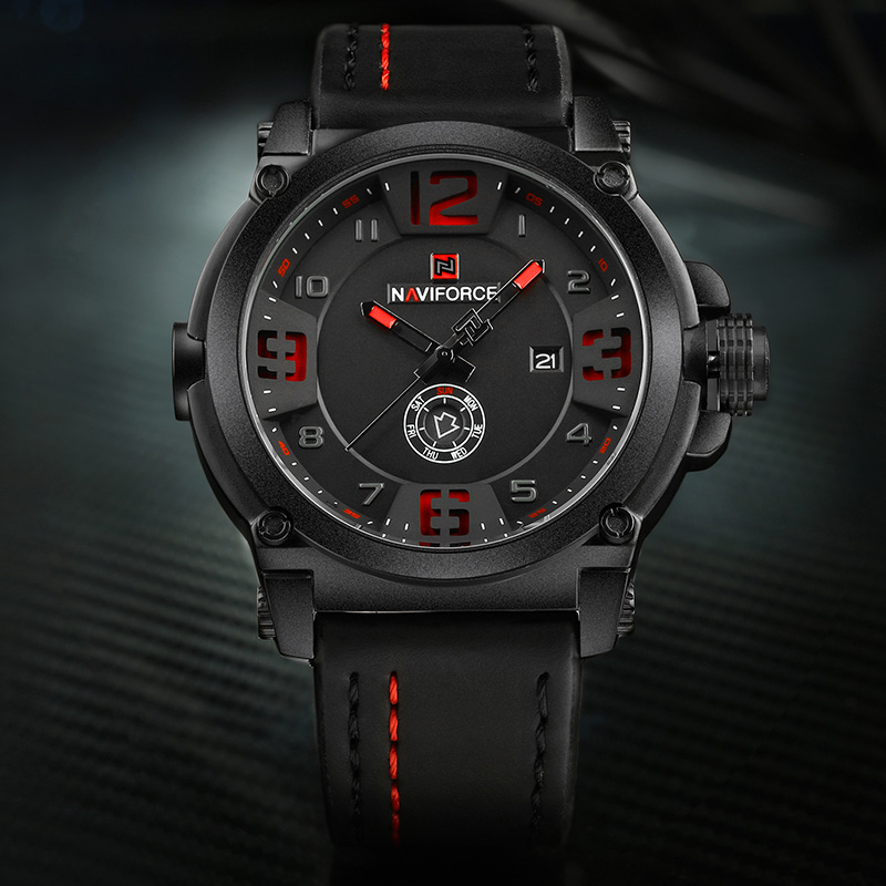Image 2 - NAVIFORCE Sport Men Watch Leather Strap Waterproof Shockproof Best Male Watch Brands With Dates Man Watches 2019 Brand Luxury-in Quartz Watches from Watches