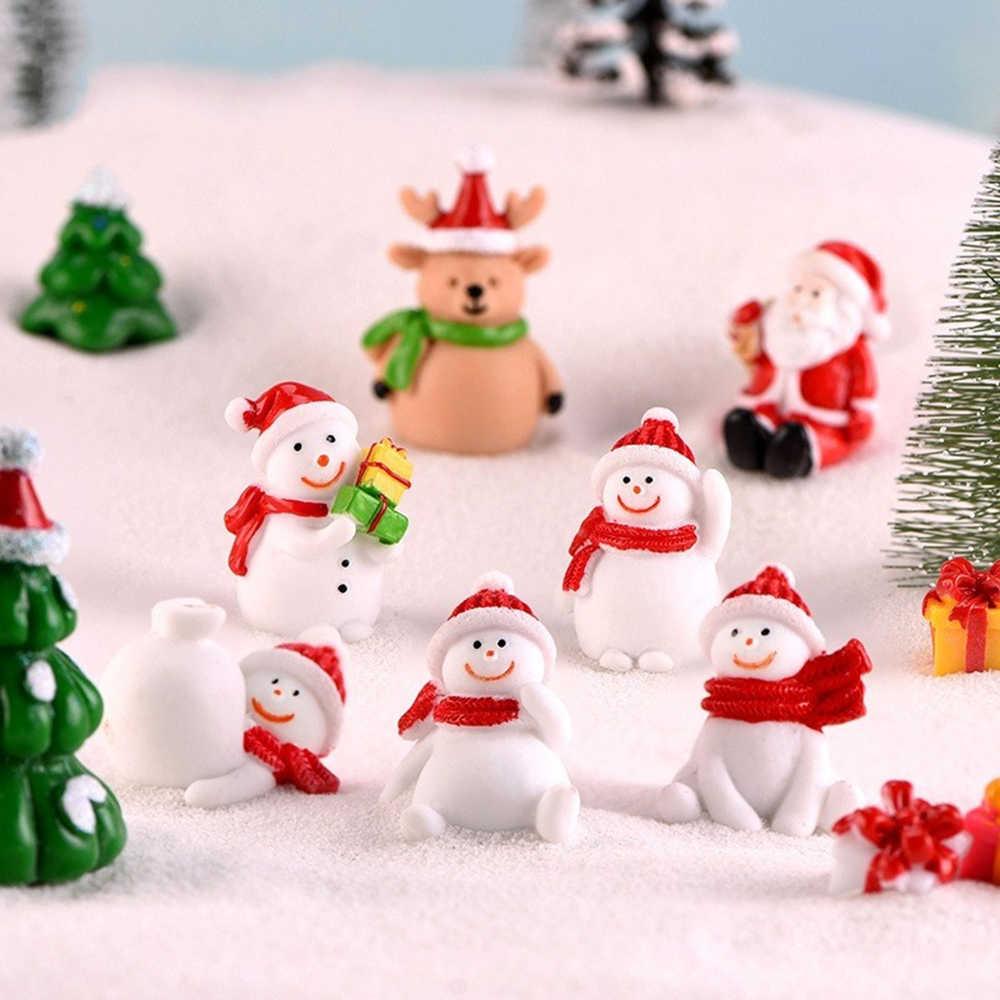 Figurines Figurines de noël bonhomme de neige père noël | Figurines de jardin de fée, accessoires de Figurines de fée, décoration de Terrarium, 1 pièce