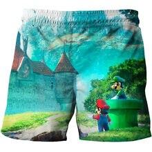 Verão novo estilo harajuku clássico jogos super mario calças curtas mario bros dos desenhos animados 3d imprimir calças curtas hip hop curto de grandes dimensões