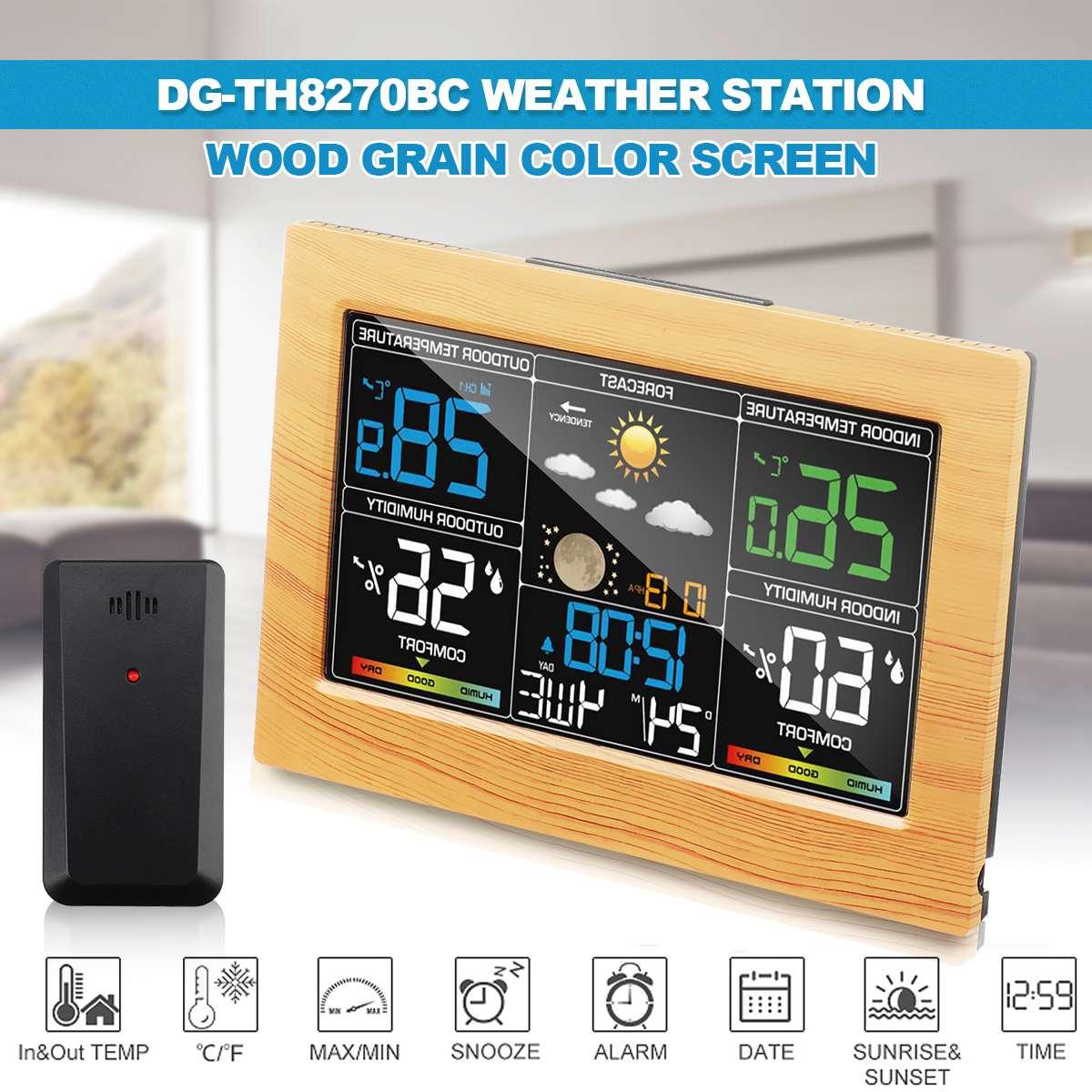DIGOO DG-TH8270BC Wood Color Wireless Weather Station Indoor Outdoor Sensor / Thermometer Hygrometer / Calendar /Snooze Clock