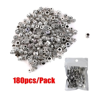 Wholesale Mixed About 180pcs Tibetan Silver Antique Loose Bead Spacer Beads Connectors DIY Jewelry Making Findings