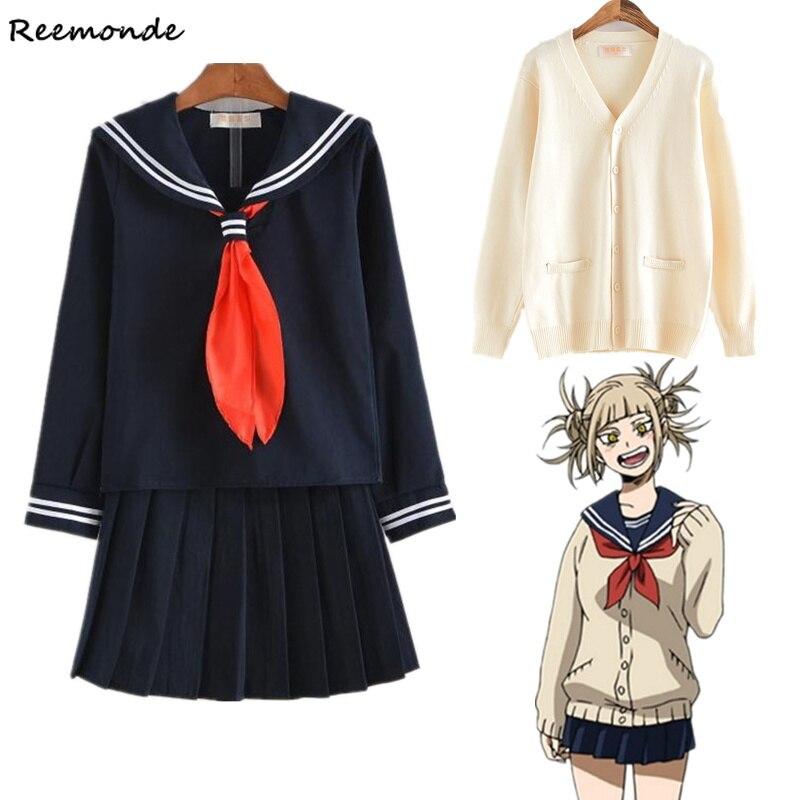 My Hero Academia Himiko Toga Cosplay Costume Boku No Hero Academia Sailor Suit JK Uniform School Skirt Suit Wigs Girl Sweaters