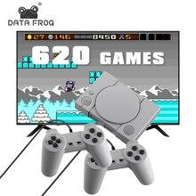 נתונים צפרדע רטרו וידאו משחק קונסולת לבנות 620 משחקים 8 קצת תמיכה AV החוצה לשים עם 2 נגן בקר
