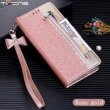 Estuche de cremallera tipo billetera con tapa para Samsung Galaxy J4, J6 Plus, 2018, J3, J5, J7, 2017